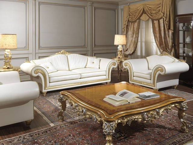 imperial classic sofas and armchairs in beige leather carved and gilded by hand. Black Bedroom Furniture Sets. Home Design Ideas