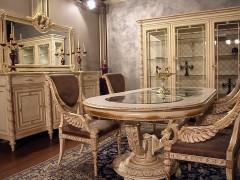 Arredo classico di lusso: sala da pranzo White and Gold stile Luigi XVI
