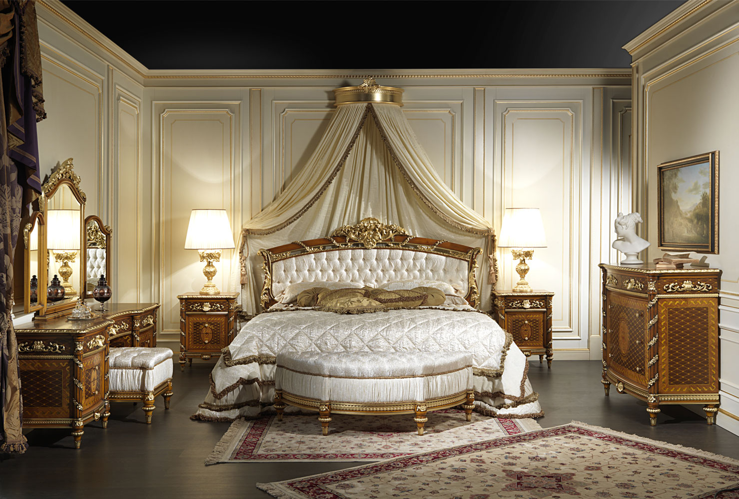Classic bedroom in walnut louis xvi style for Classic interior furniture