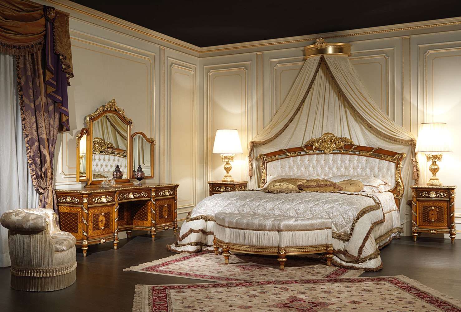 Classic bedroom in walnut louis xvi style for Interni di case classiche