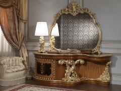 Camera da letto classica di lusso: toilette classica in stile barocco con intagli e intarsi a mano e inserti in madreperla