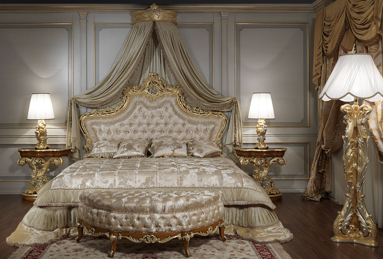 Luxury classic bedroom roman baroque style for French baroque bed