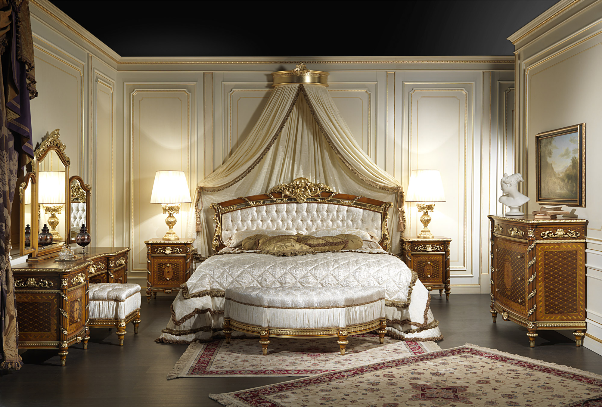 Classic bedroom in walnut louis xvi style for Bedroom designs classic