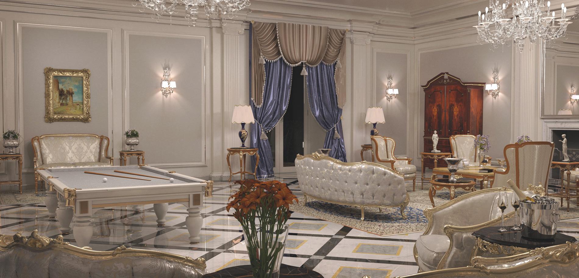 Arredamento ville il contract nel classico di lusso for Interni di lusso