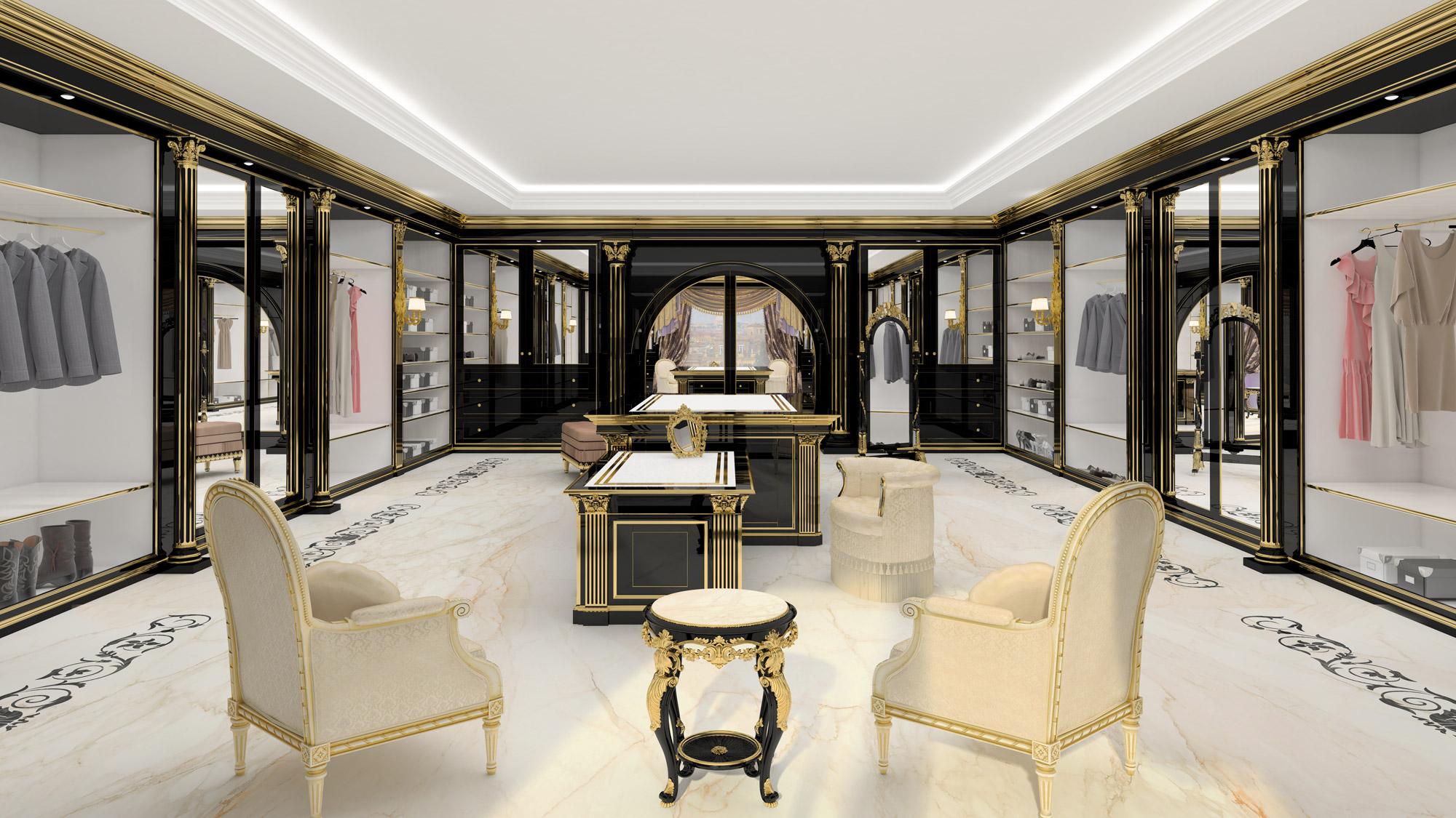 A luxury walk in closet for exclusive villas for Design di cabine di lusso