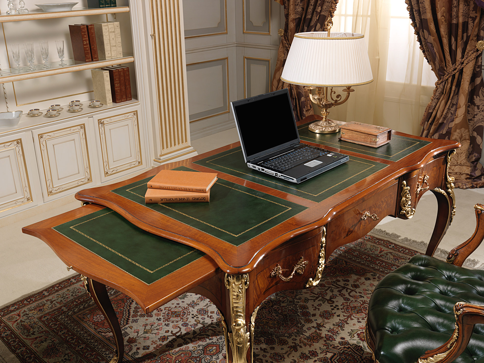 Luxury Office Table, Pull Out Shelves