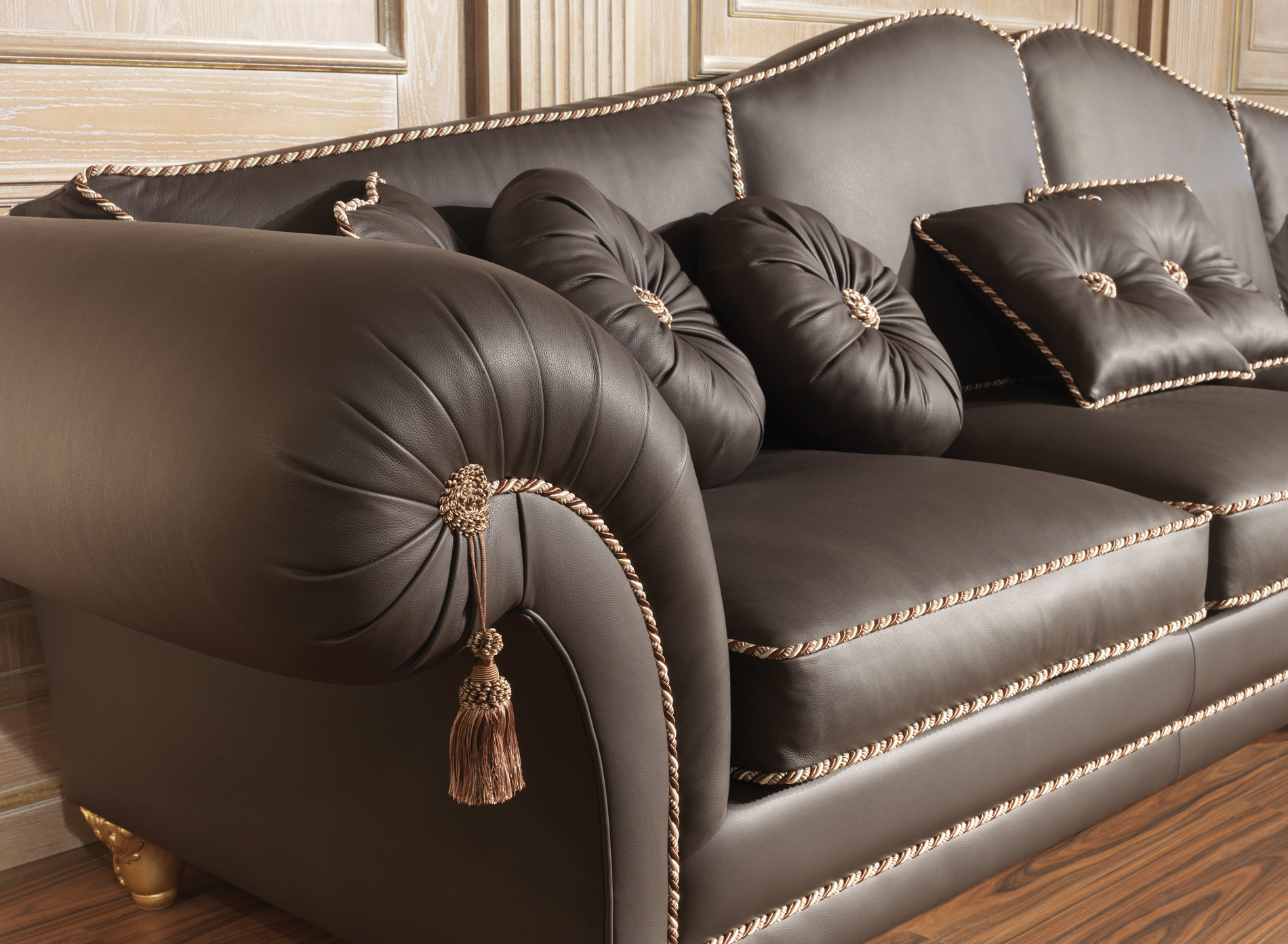 Luxury sofas in leather classic style modern beauty