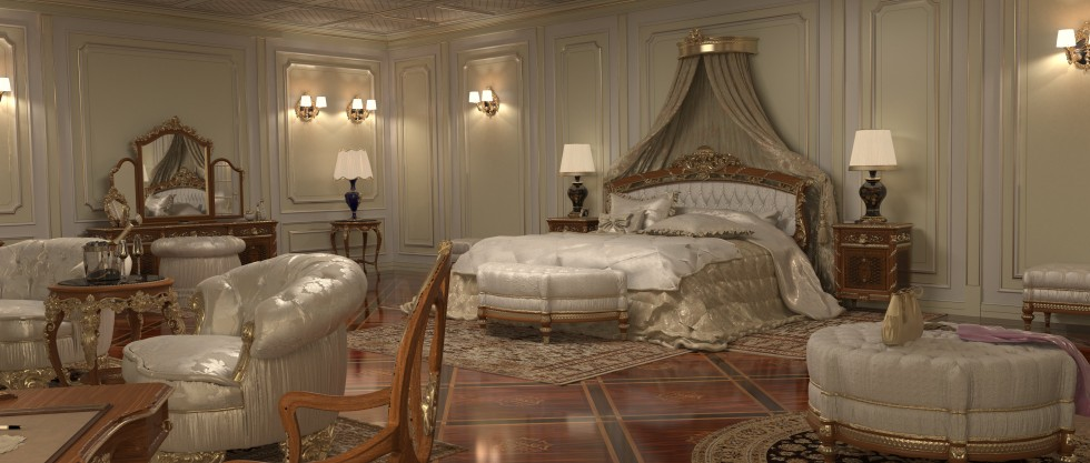 Bedroom for villa, bed