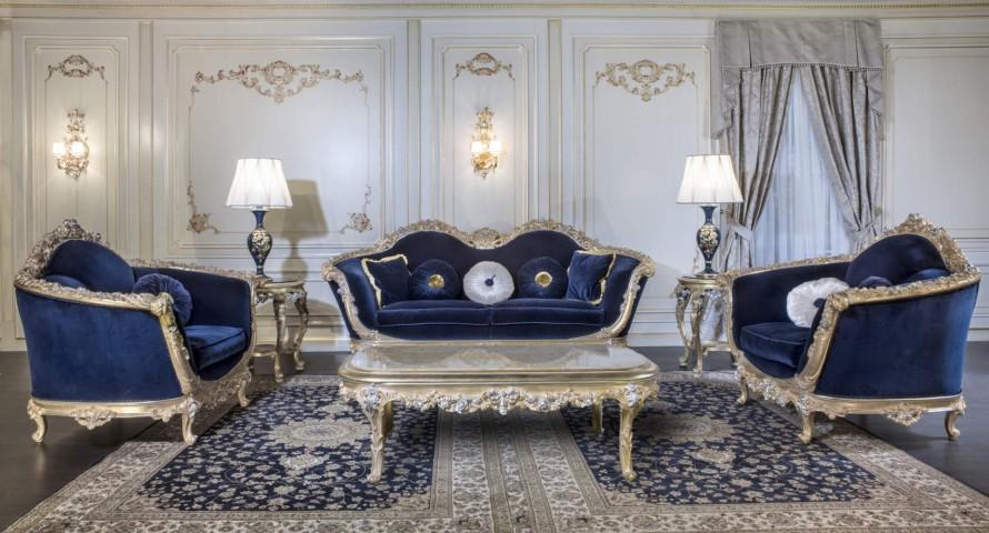 Divano foglia oro blu