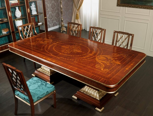 Inlaid tables for dining rooms