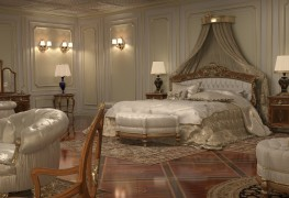 Интерьер роскошного дома, спальная зона