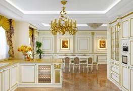 Cucine di lusso su misura con tavolo da pranzo