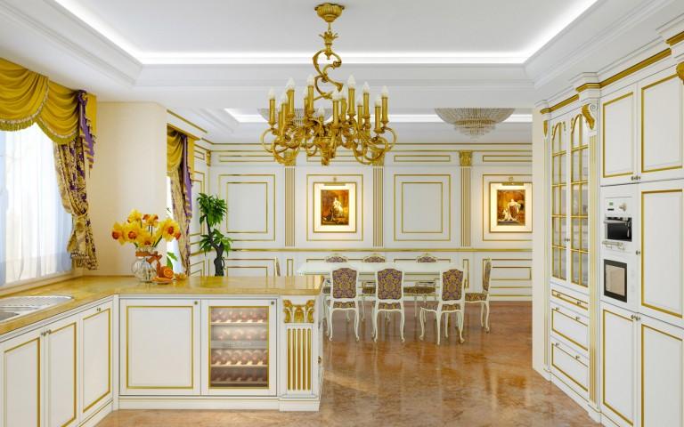 Классический элитный кухонный гарнитур с обеденным столом