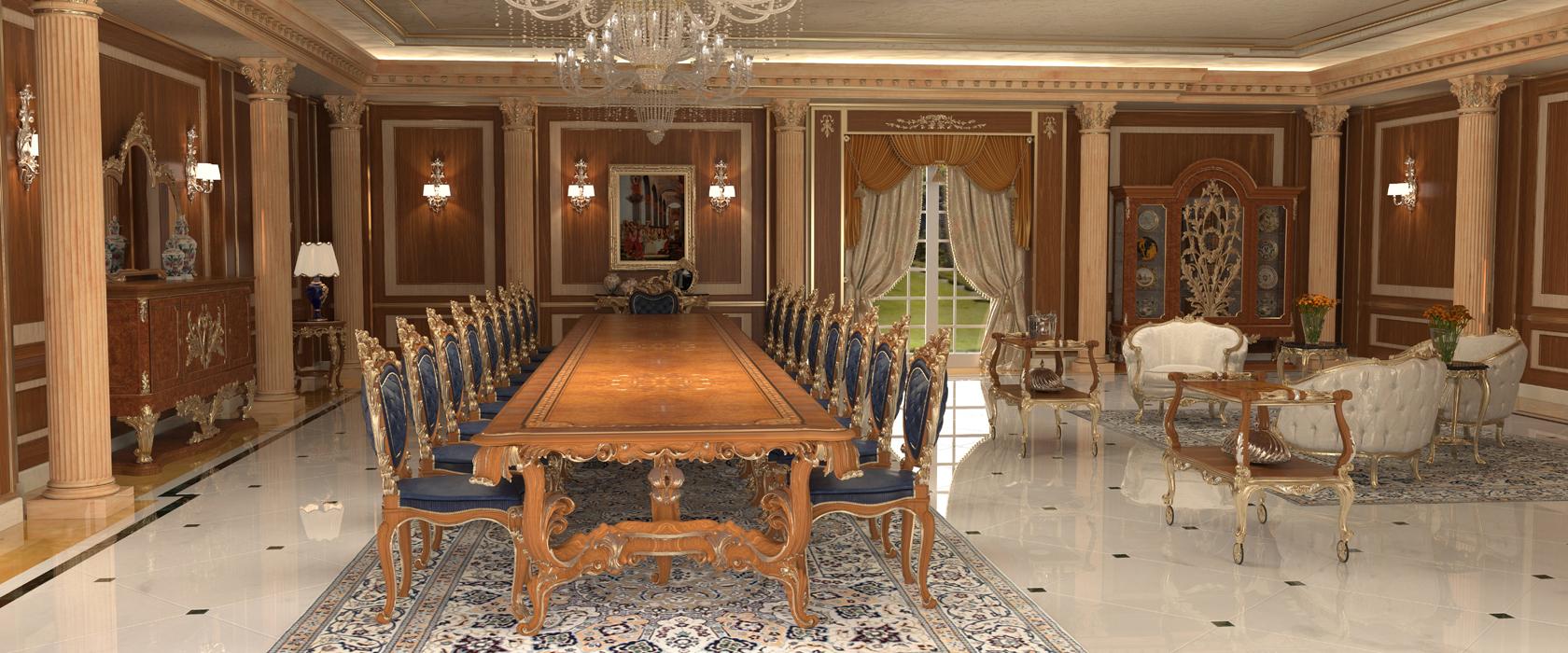 Arredamento per sala da pranzo il lusso siede a tavola for Arredamento per sala da pranzo
