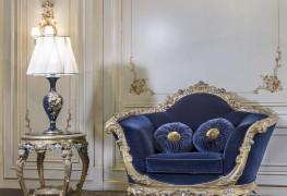 Роскошные кресла для гостиных, модель в синем цвете