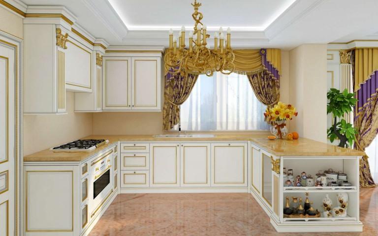 Роскошная мебель для кухни с позолотой