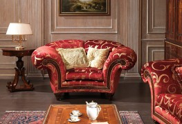 Luxury classic armchairs red upholstered