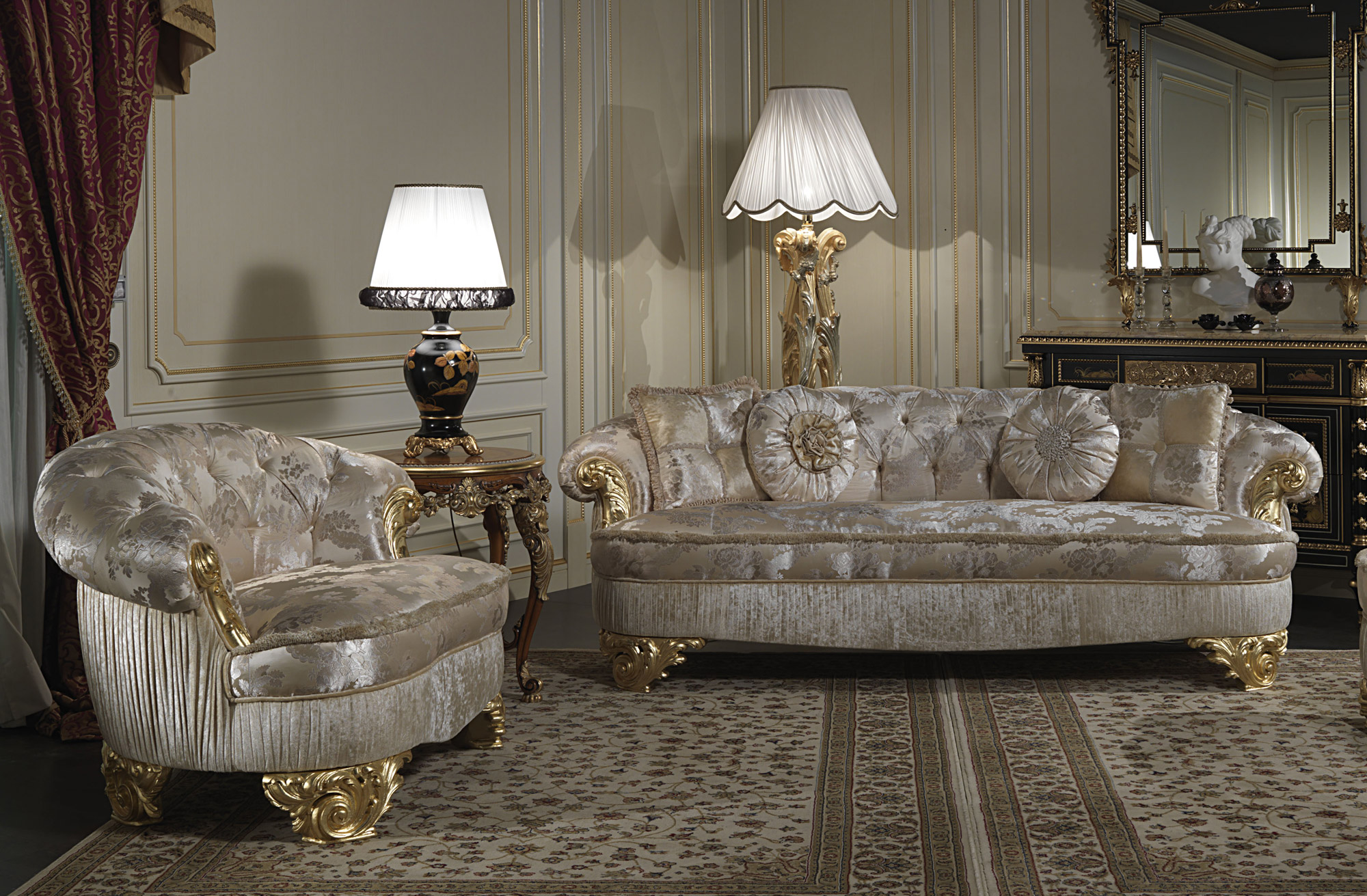 upholstered luxury sofas for classic living room paris vimercati classic furniture. Black Bedroom Furniture Sets. Home Design Ideas