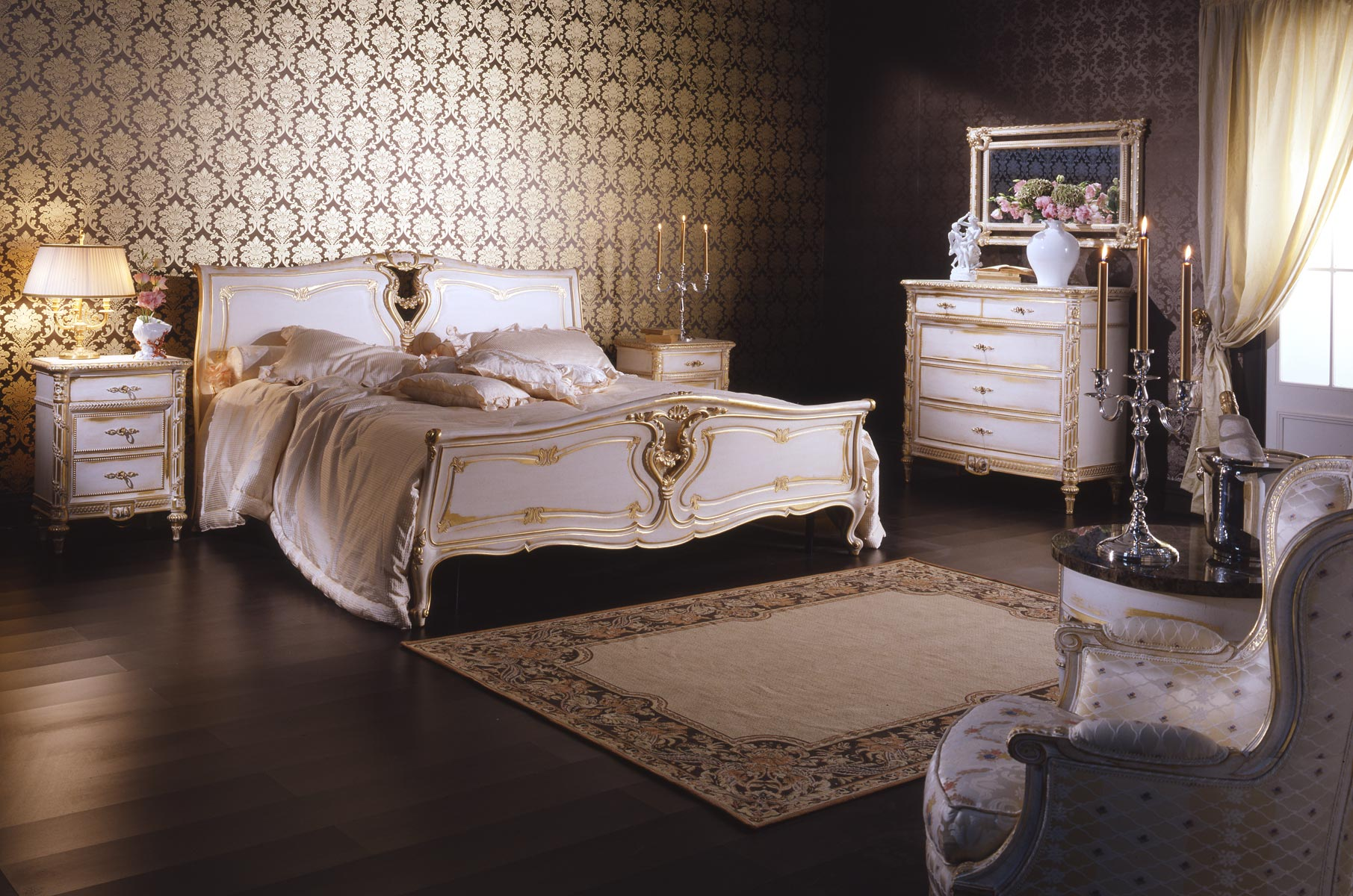 Classic Louis Xvi Bedroom Made Of Bed Chest Of Drawers And Night Tables All In Carved Wood And