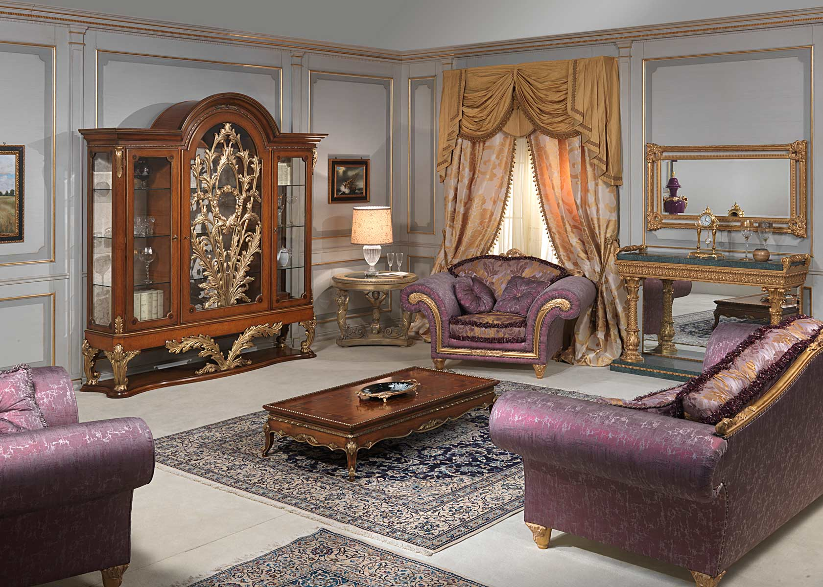 Louis Xvi Style Living Room Glass Showcase Sofa And Armchair Small Table And Console