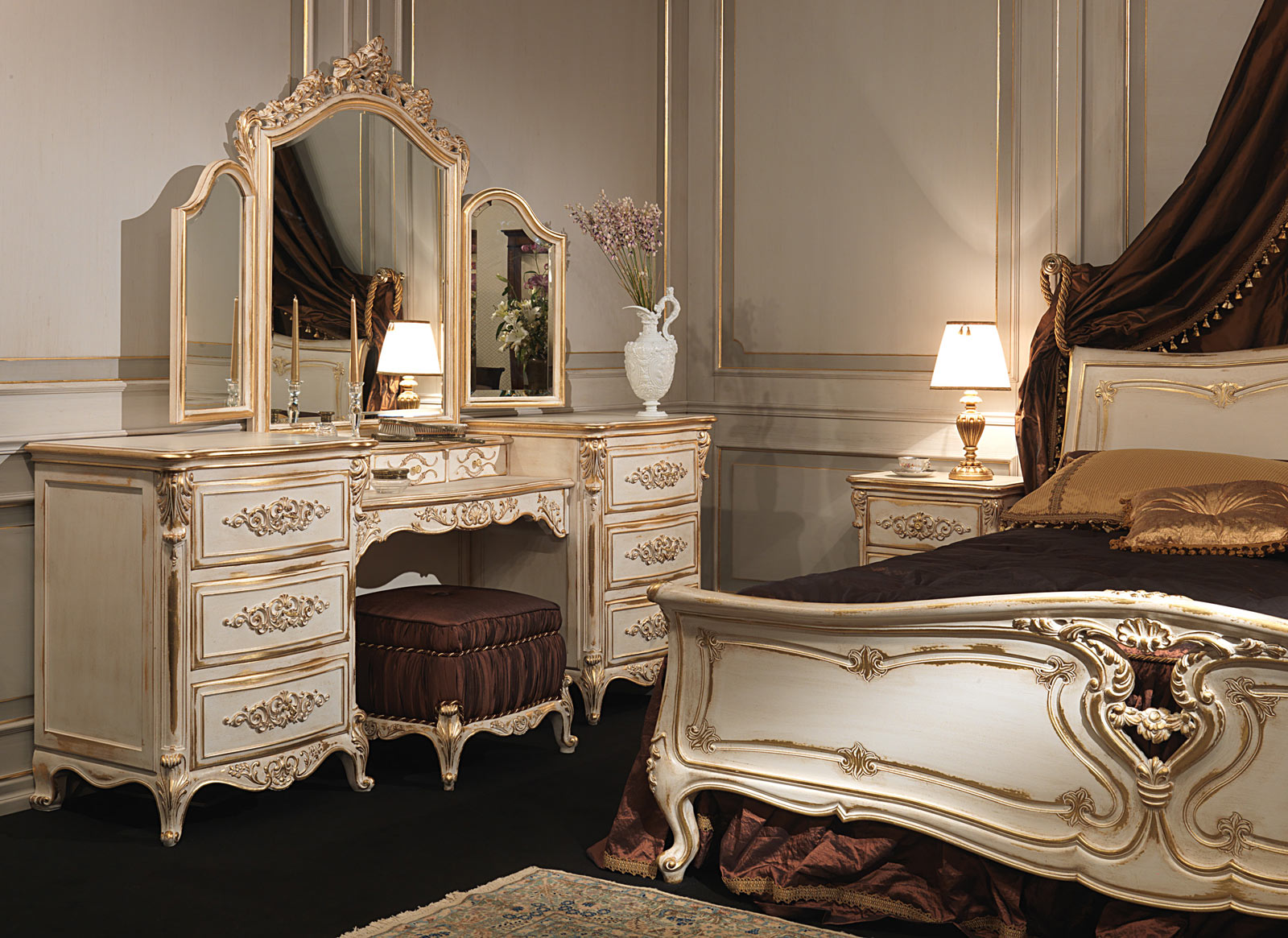 Classic Louis Xvi Bedroom Carved Wood Bed Dressing Table
