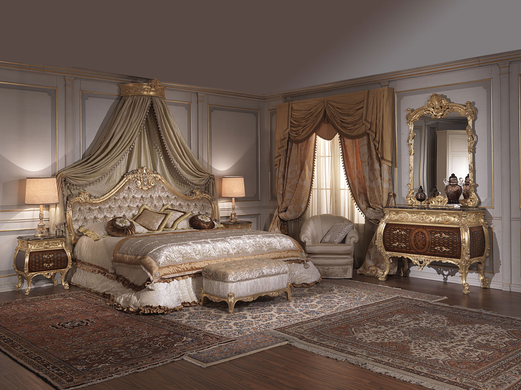 Classic italian bedroom 18th century and louis xv for Chambre louis xv