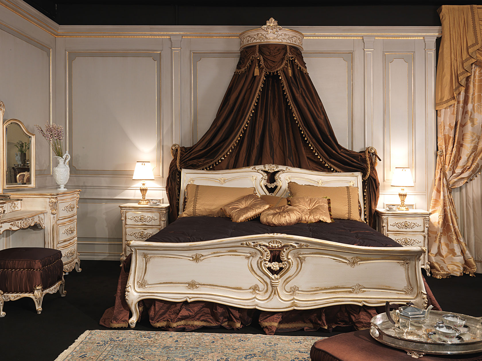 Classic Louis Xvi Bedroom Carved Wood Bed With Wall