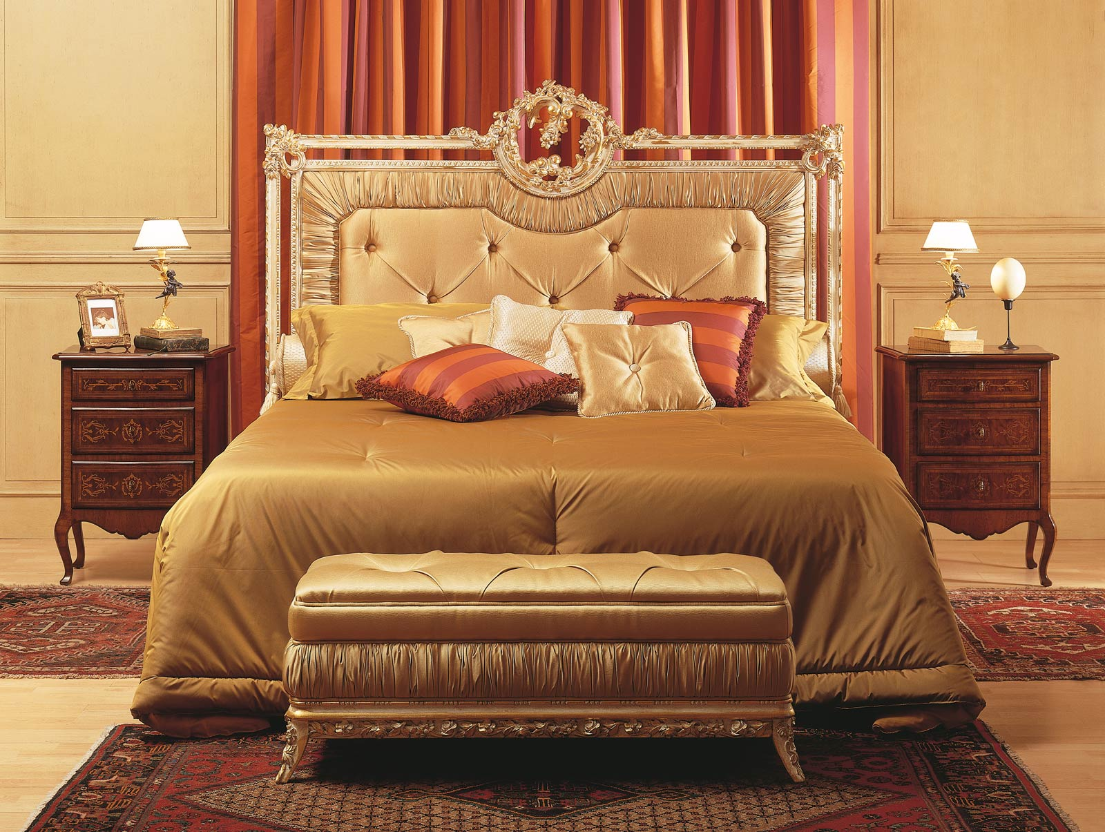 louvre bedroom bed bench walnut night tables vimercati classic