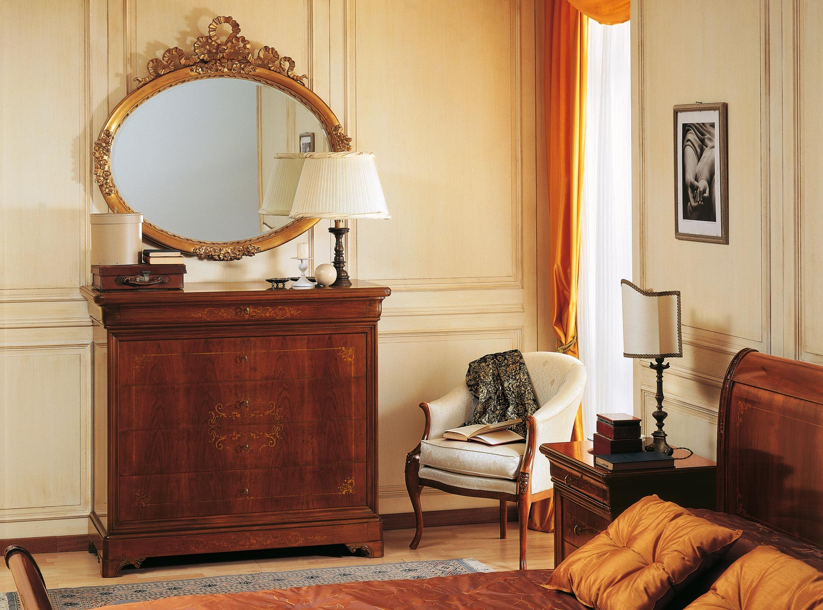 19th Century French Bedroom Inlaid Chest Of Drawers And Golden Mirror Vimercati Classic Furniture