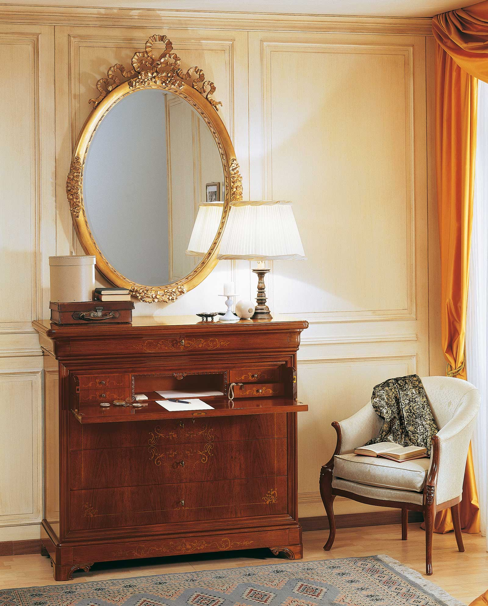 19th century french bedroom, inlaid trumeau and wall ...