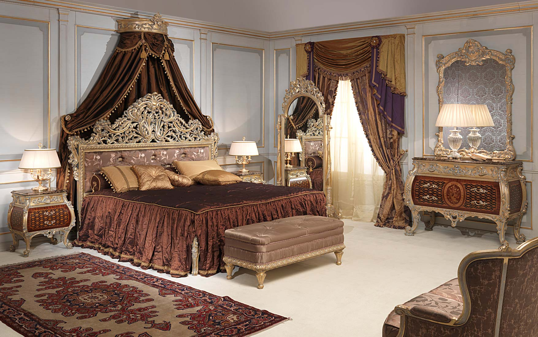 Classic emperador gold bedroom in louis xv style for Classic white bedroom