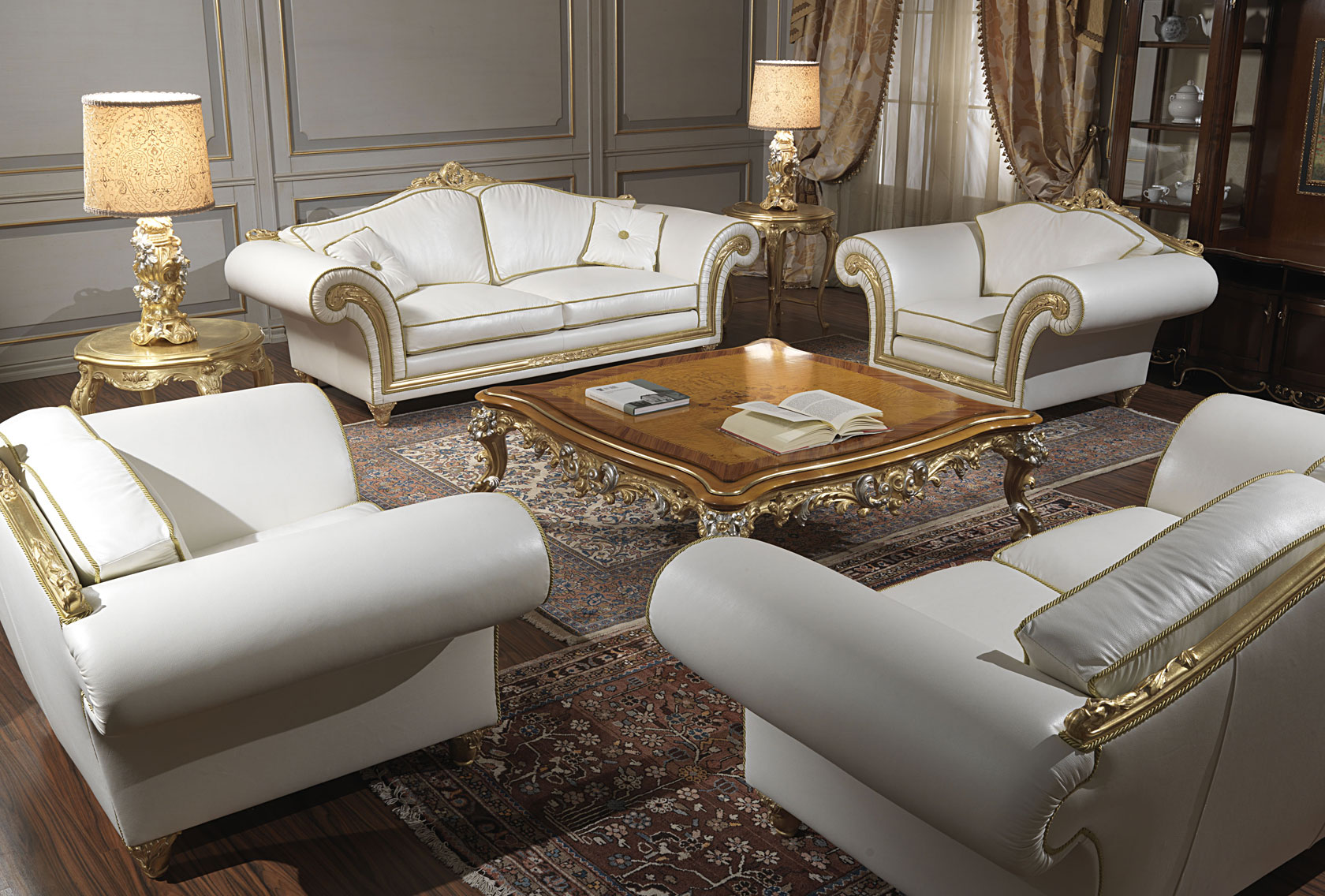 Imperial Living Room In White Leather Vimercati Classic