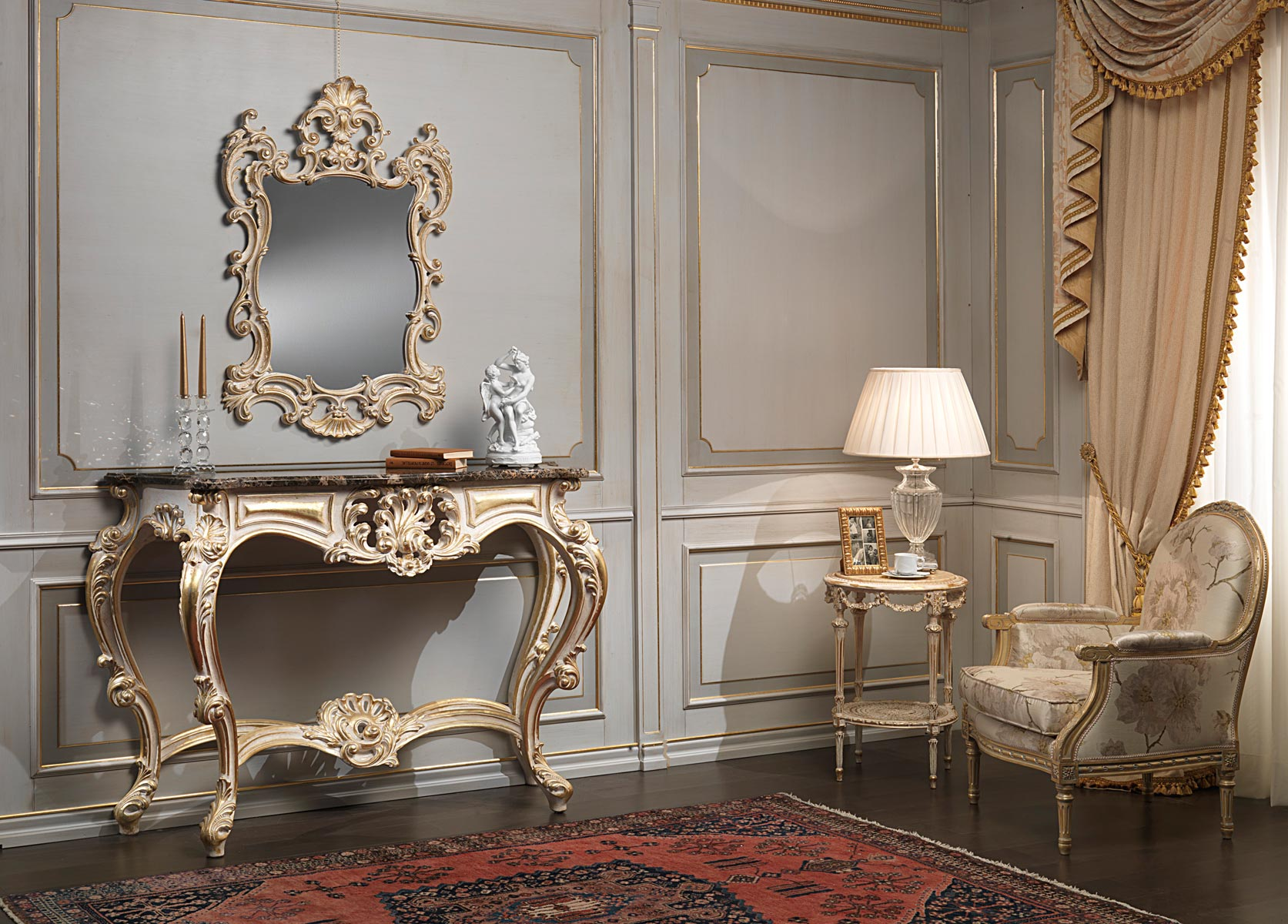 Classic White Over Gold Console And Mirror Vimercati