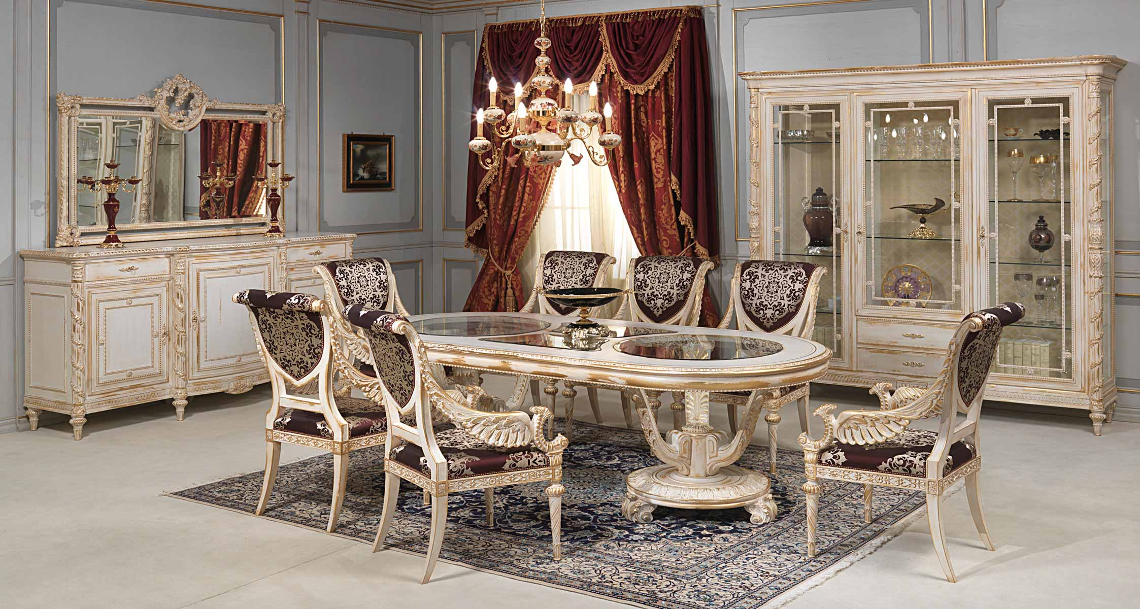 White And Gold Dining Room In Louis Xvi Style Vimercati