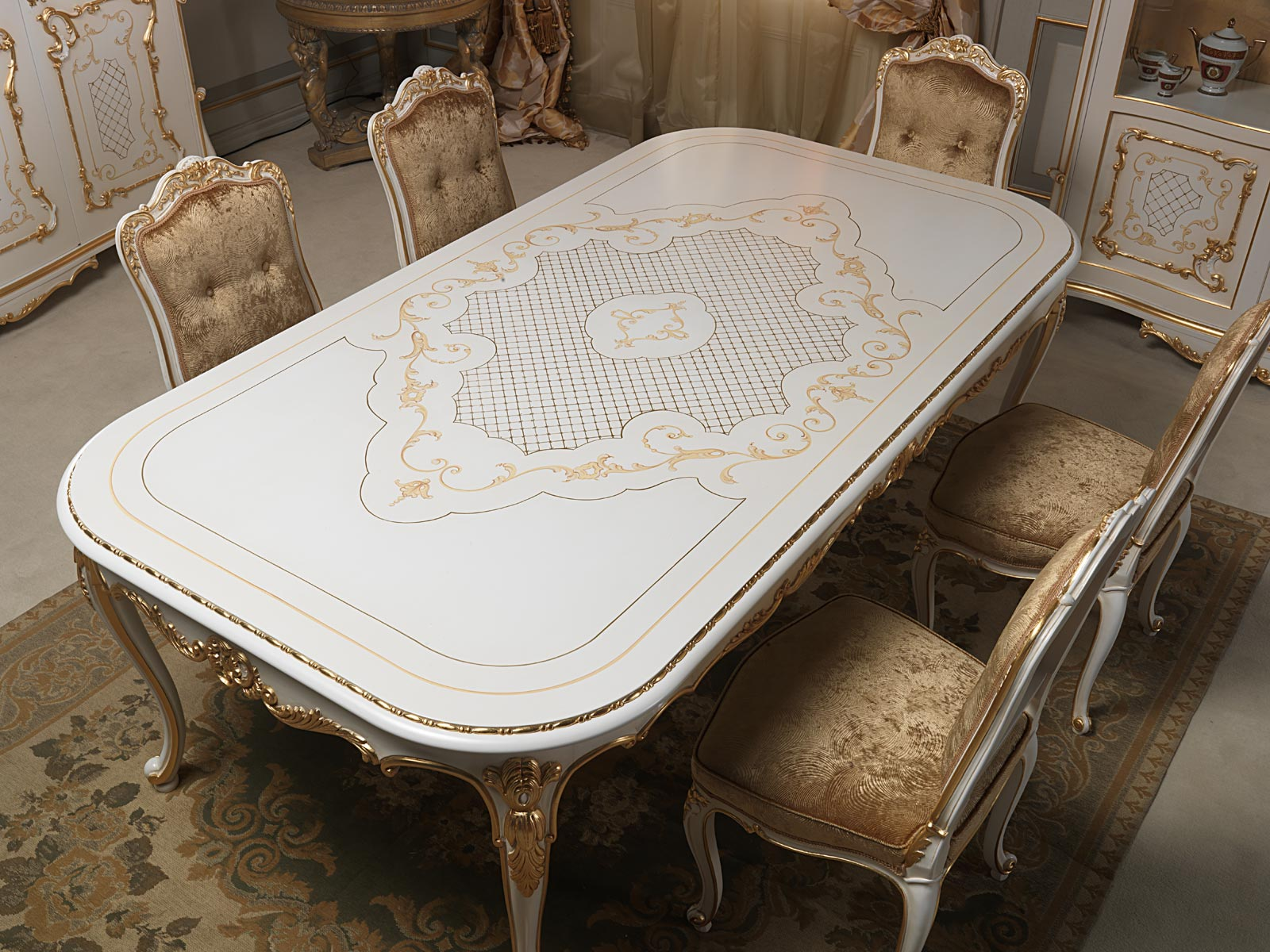 Dining table venice in louis xv style vimercati classic furniture - Table louis xv ...