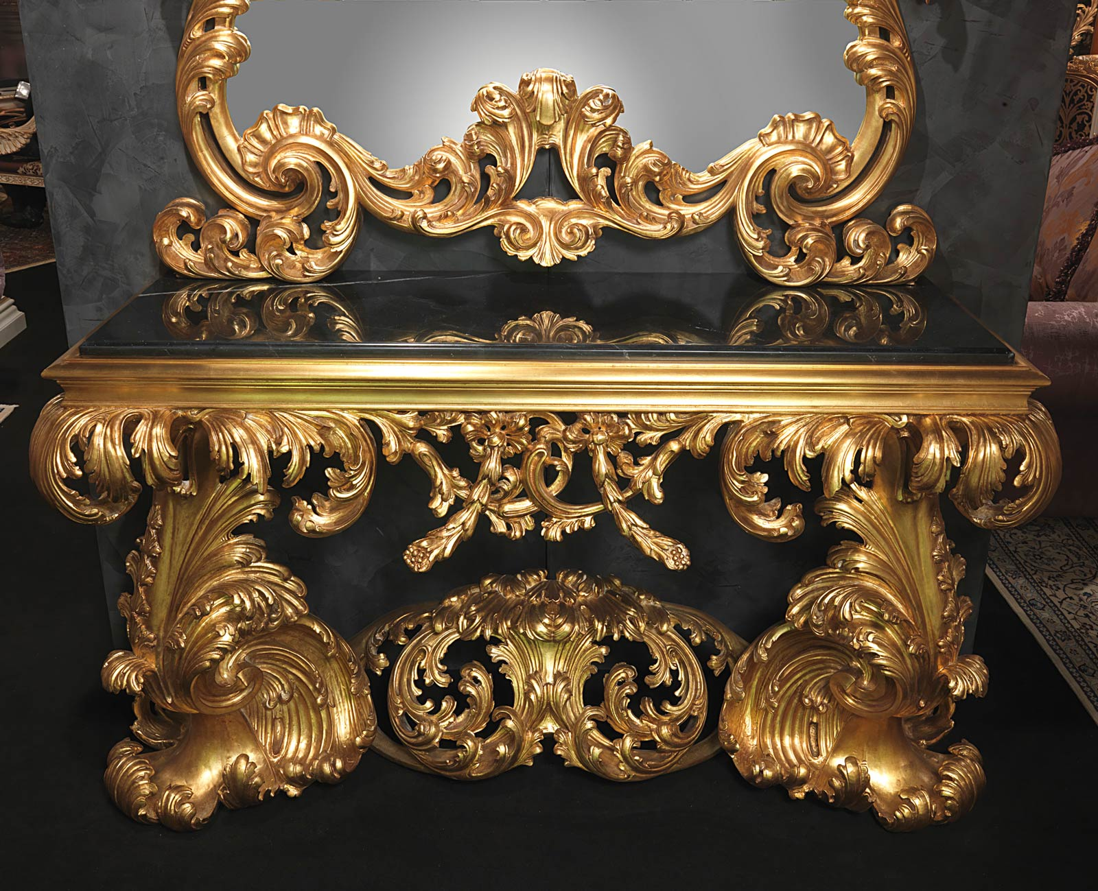 baroque italian console of the 17th century with black marble vimercati classic furniture. Black Bedroom Furniture Sets. Home Design Ideas