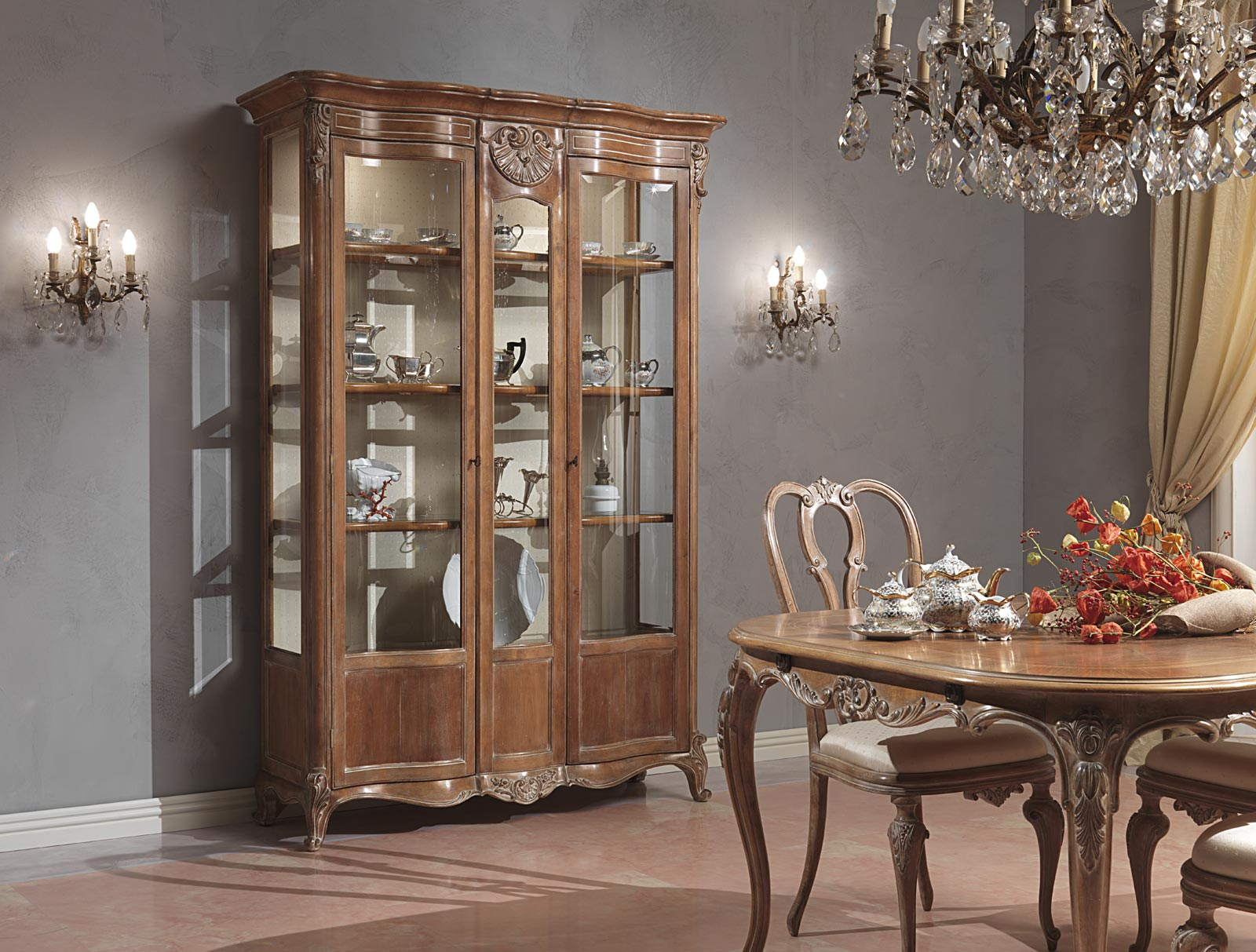 Paris dining room in louis xv style vimercati classic furniture - Dining room showcase designs ...