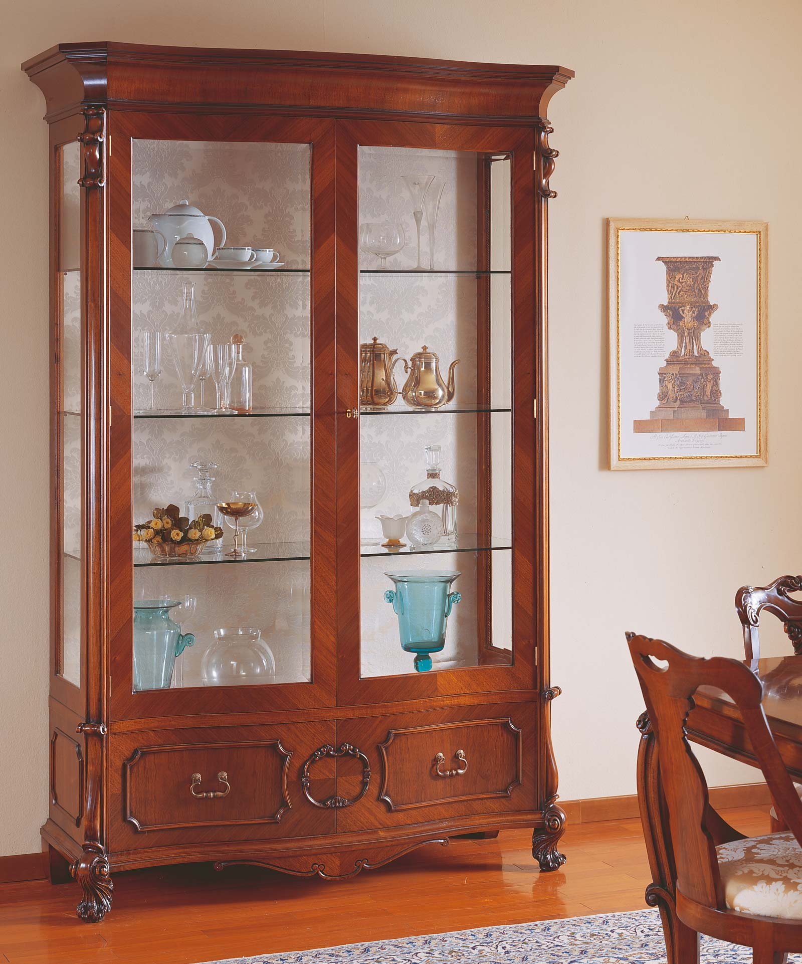 18th century siciliano glass showcase two doors vimercati classic furniture - Dining room showcase designs ...
