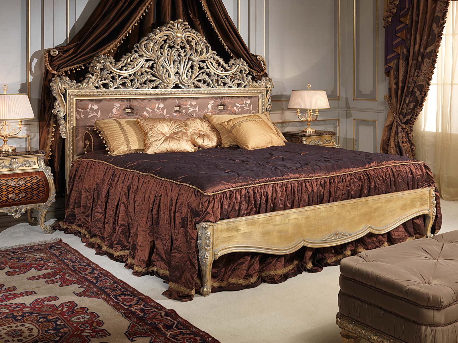 Chambre à coucher Emperador Gold, style Louis XV, meubles