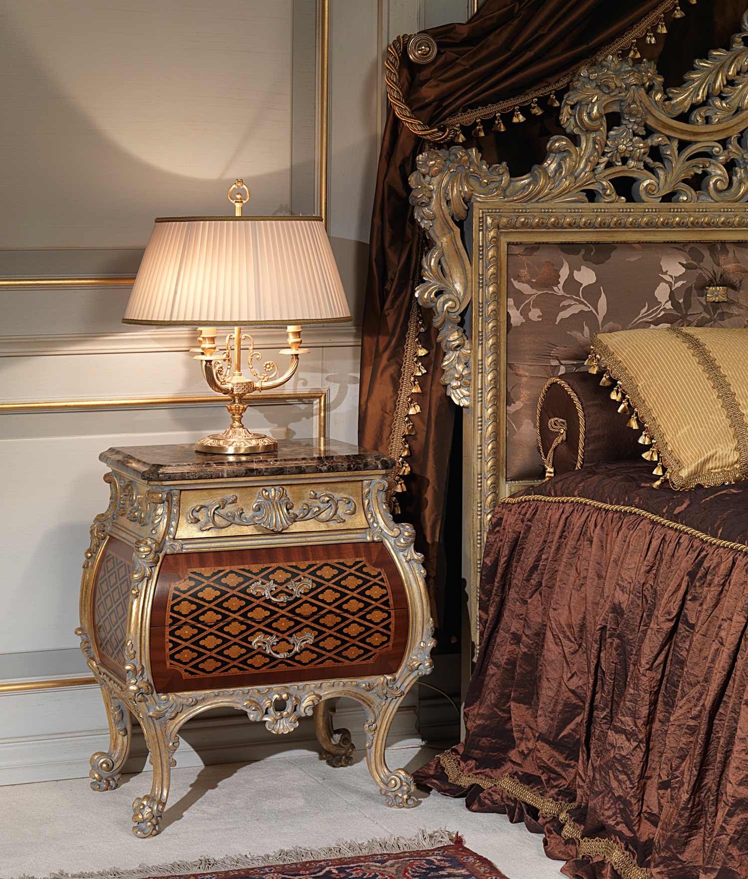 Classic Emperador Gold In Louis Xv Style Bedroom Night Table Vimercati Classic Furniture