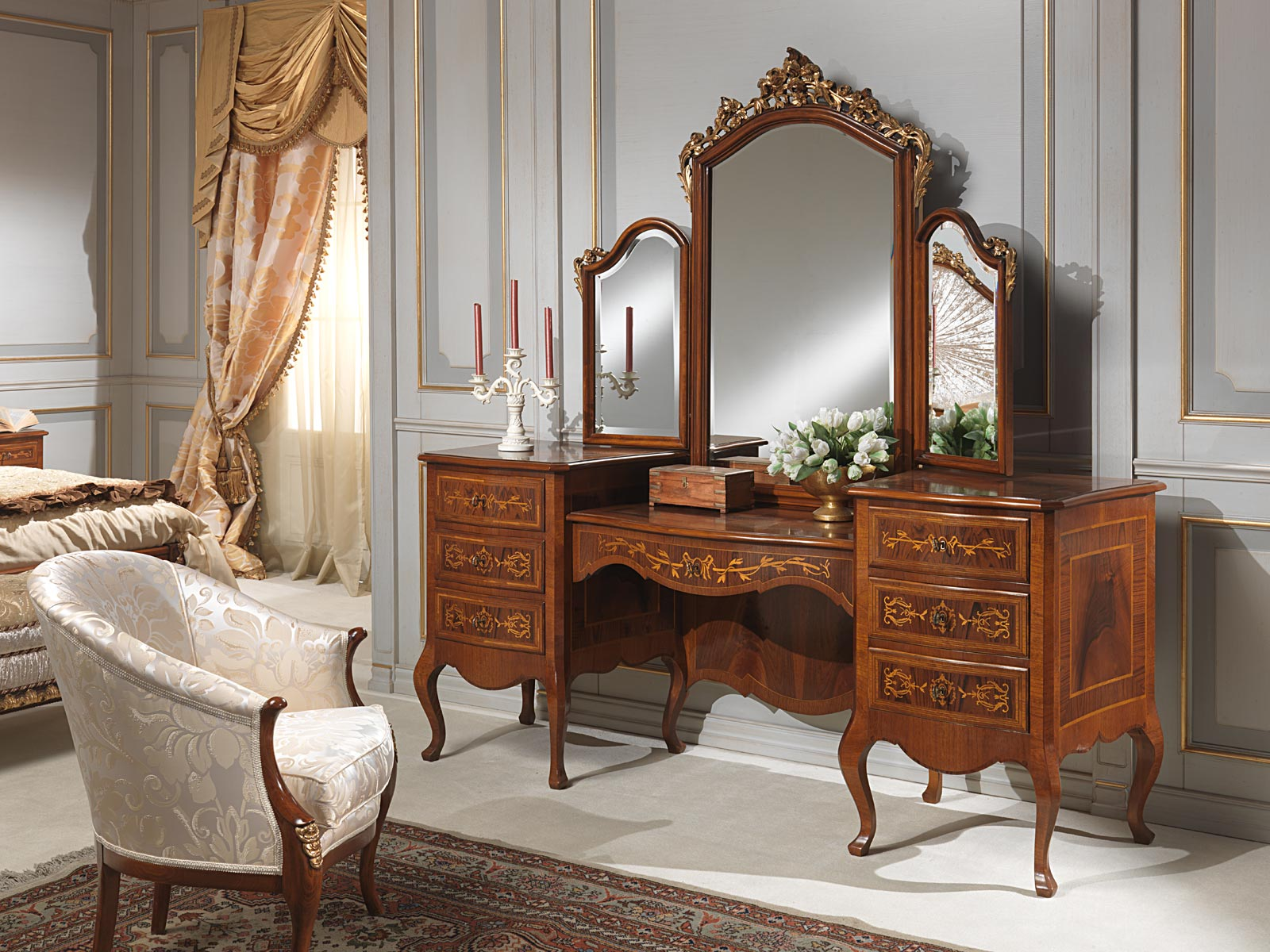 Classic louvre bedroom dressing table with mirror for Bedroom dressing table