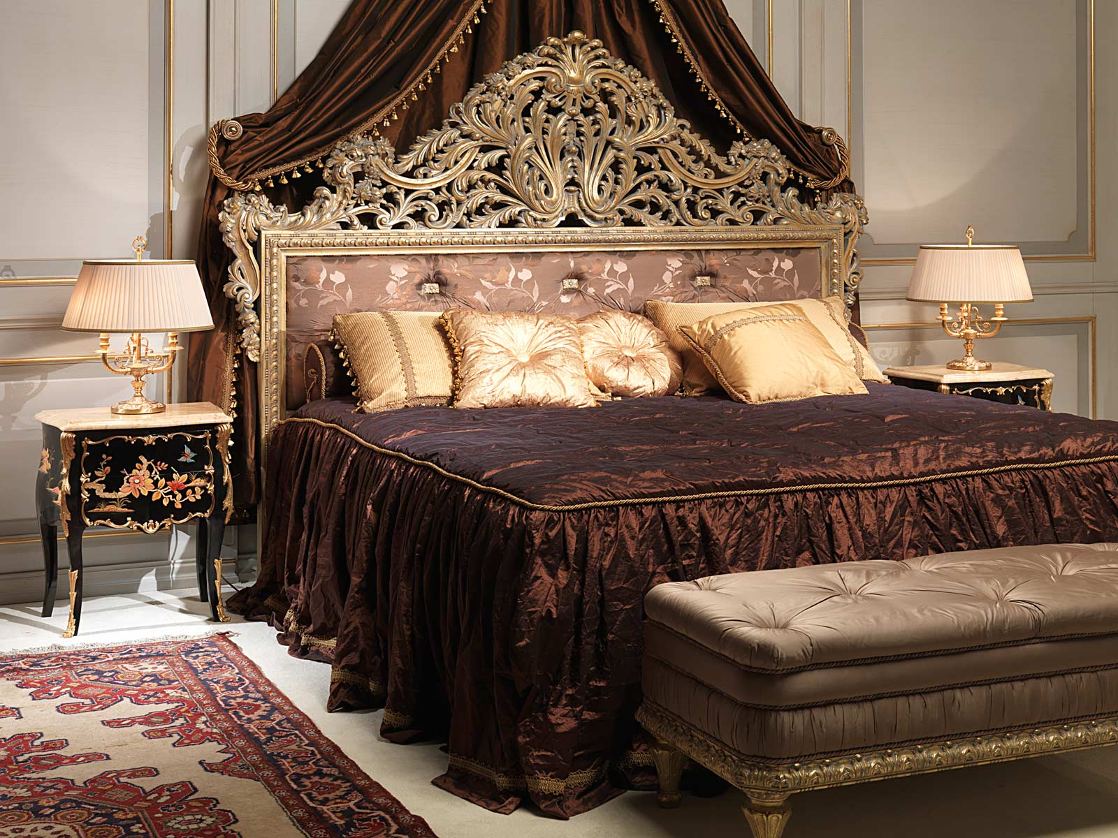 Classic Emperador Gold Bedroom Carved Bed Inlaid Bedside Tables Capitonn 232 Bench Vimercati