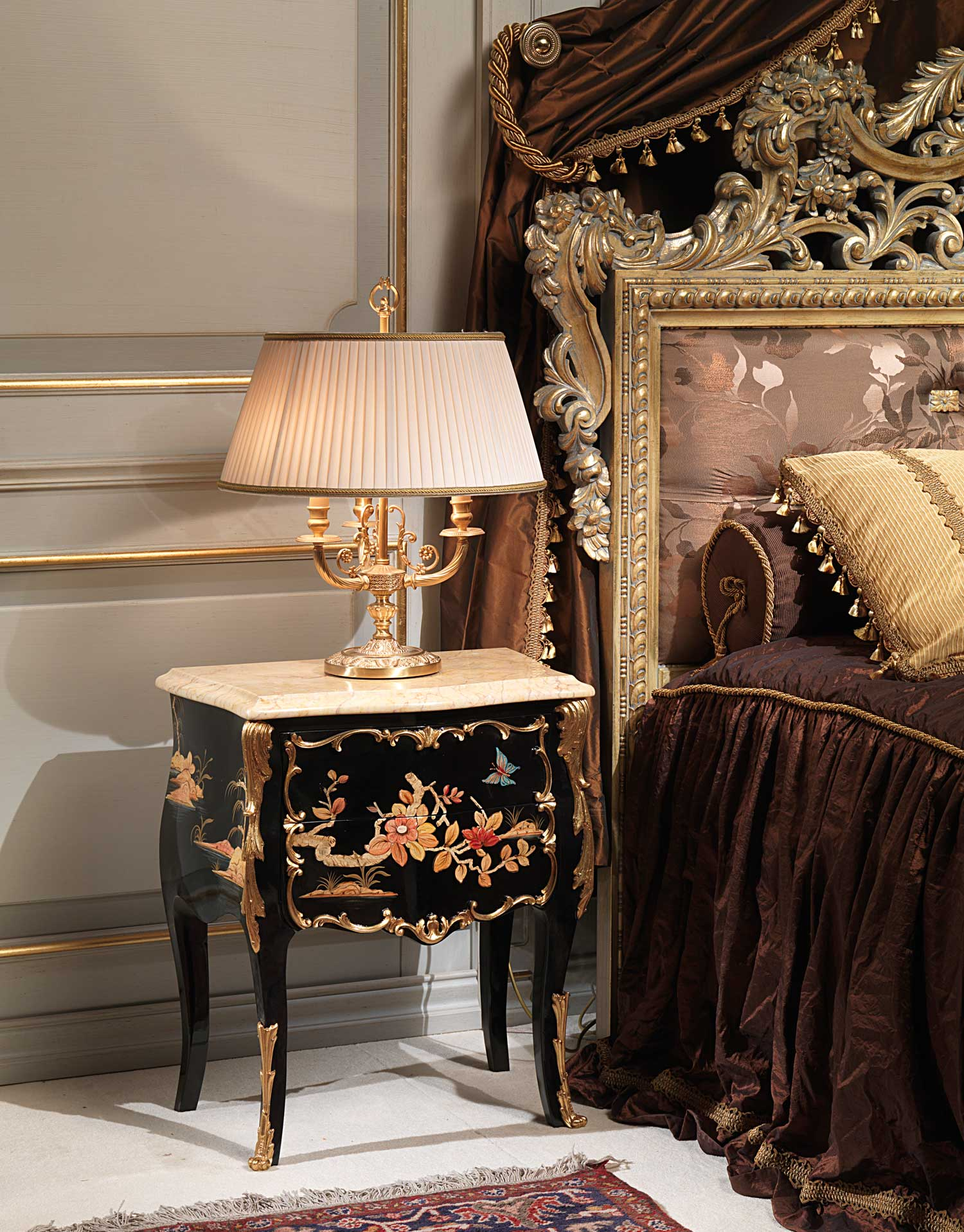 Classic Emperador Gold Bedroom Black Inlaid Bedside Table