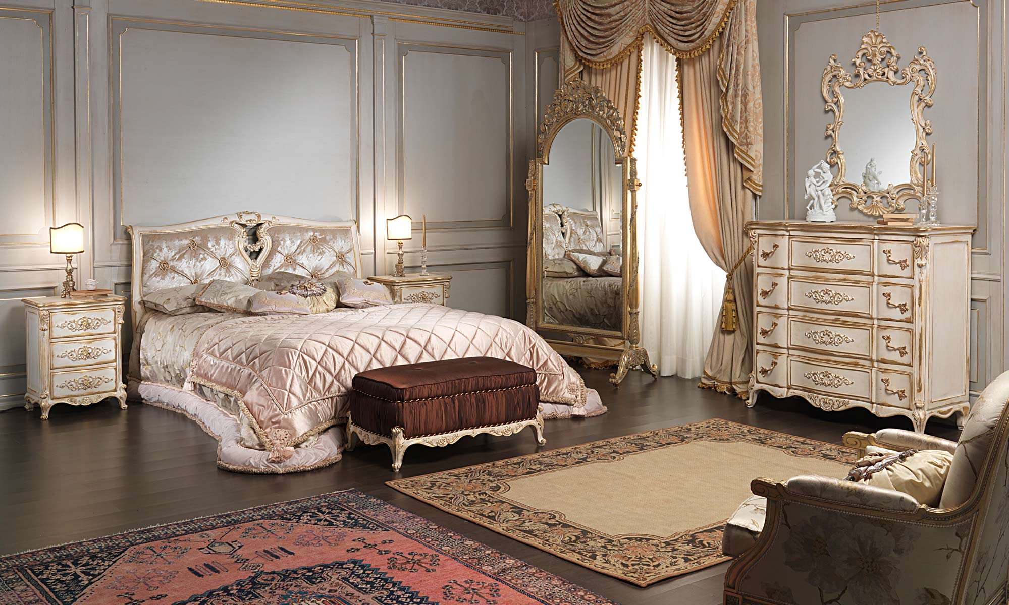 Classic Louis XVI bedroom, bed, padded bench, chest of drawers ...