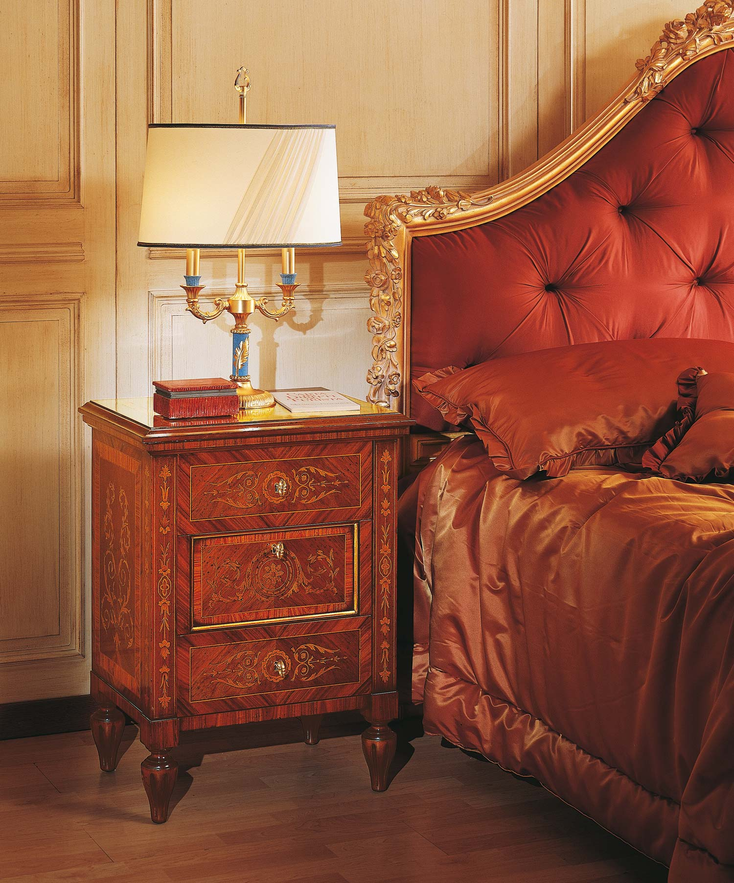classic maggiolini bedroom night tables in walnut and rosewood