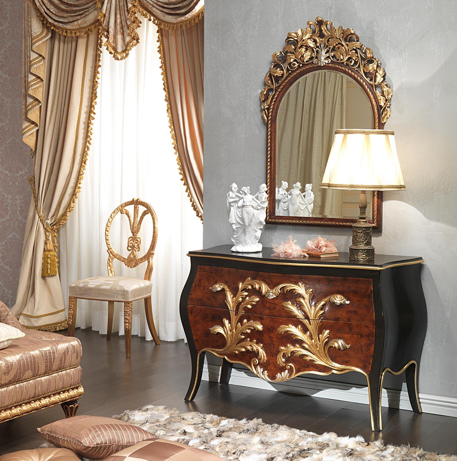 Cuisine Design Italie : Chambre à coucher style Louis XV Emperador Black, commode et miroir