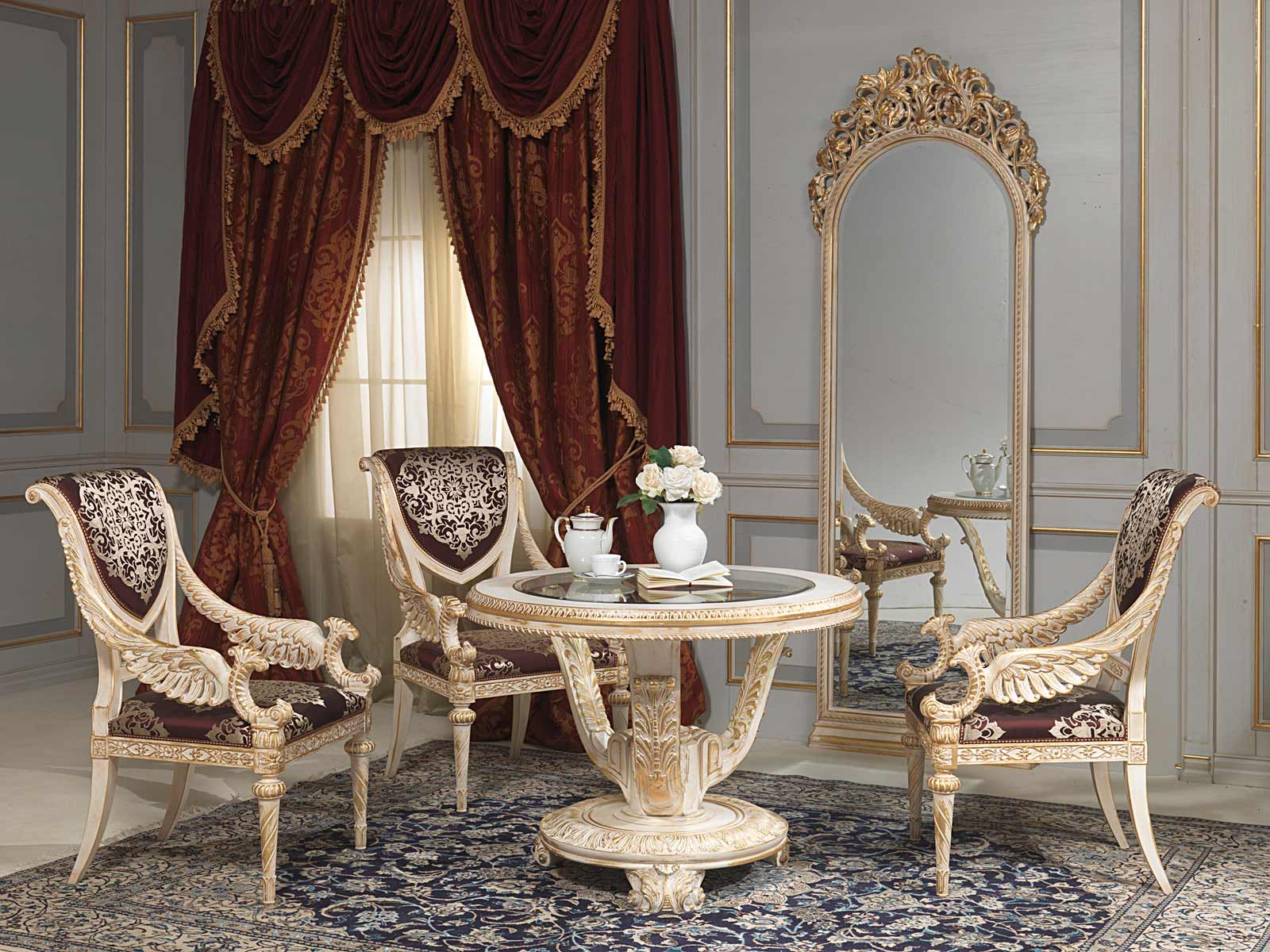 table and mirror in louis xvi style vimercati classic furniture. Black Bedroom Furniture Sets. Home Design Ideas