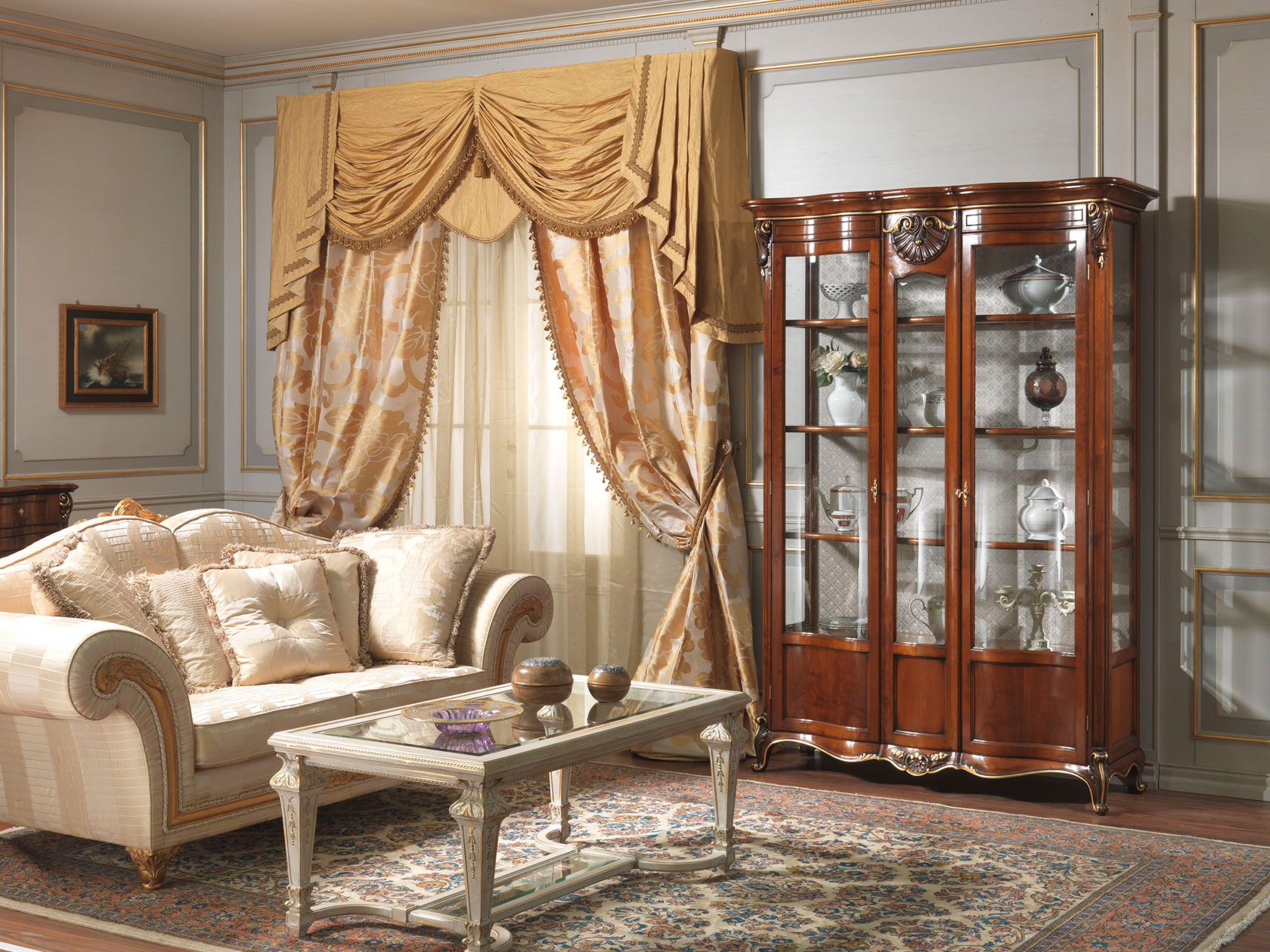 Living Room With Glass Showcase Louis XV Vimercati Classic Furniture