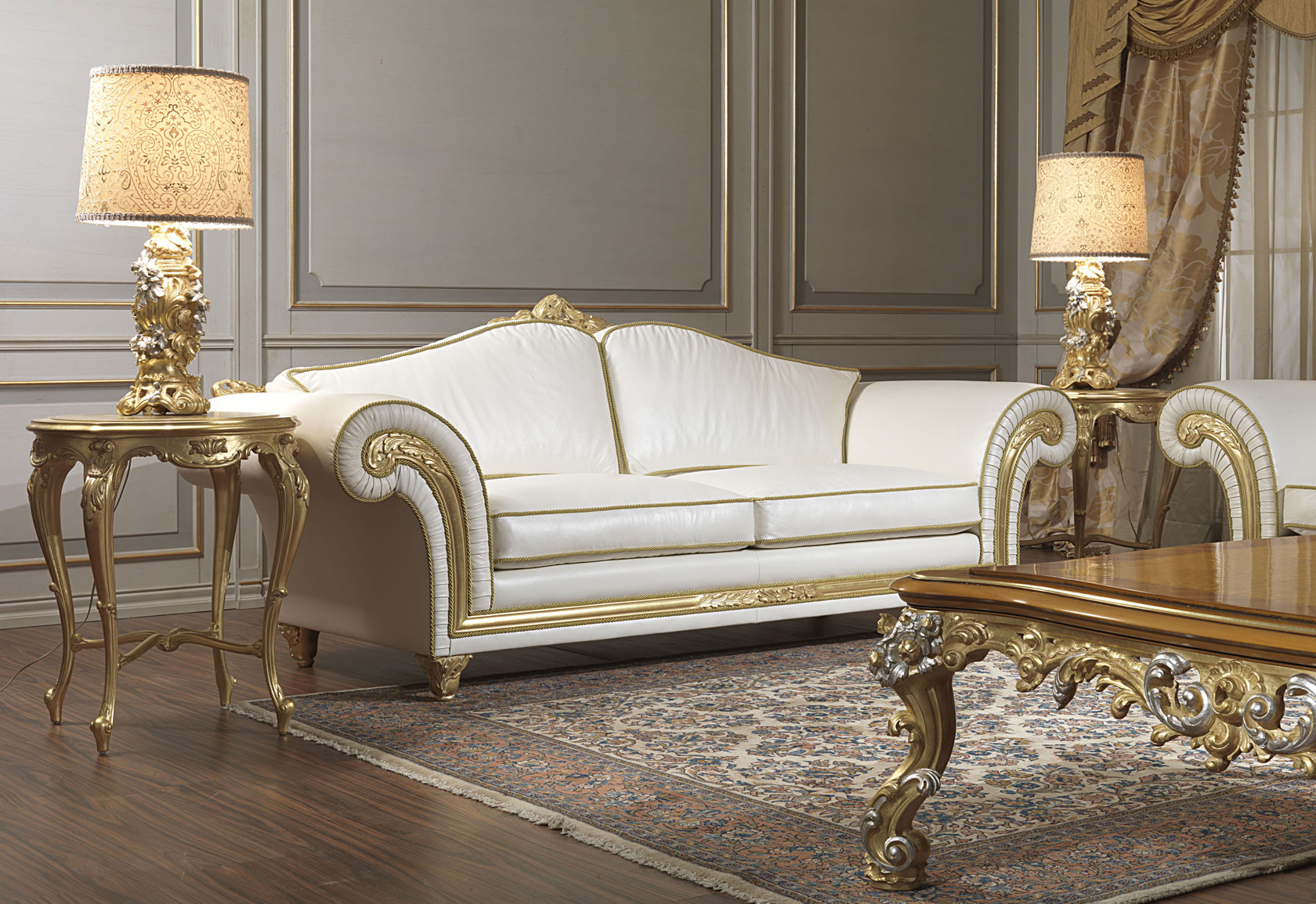 Classic sofa Imperial in white leather  Vimercati Classic Furniture