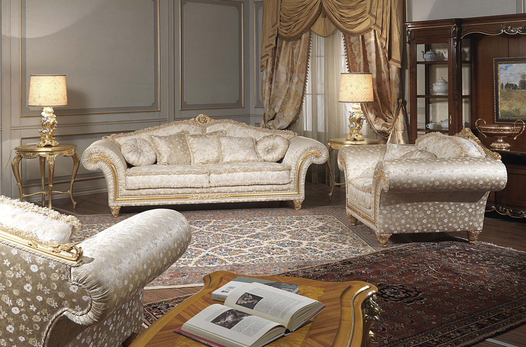 Classic living room Imperial in floral fabric  Vimercati ...